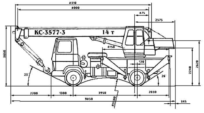габаритные характеристики автокрана 14 тонн с гуськом
